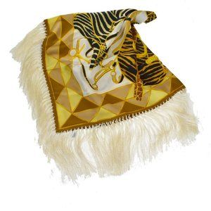 GUCCI Logos Scarf 100% Silk Yellow Black White Acc